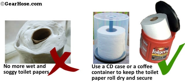 Keep toilet paper dry in a cd cover or a coffee container