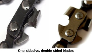 One-sided vs two-sided pocket chainsaw blades