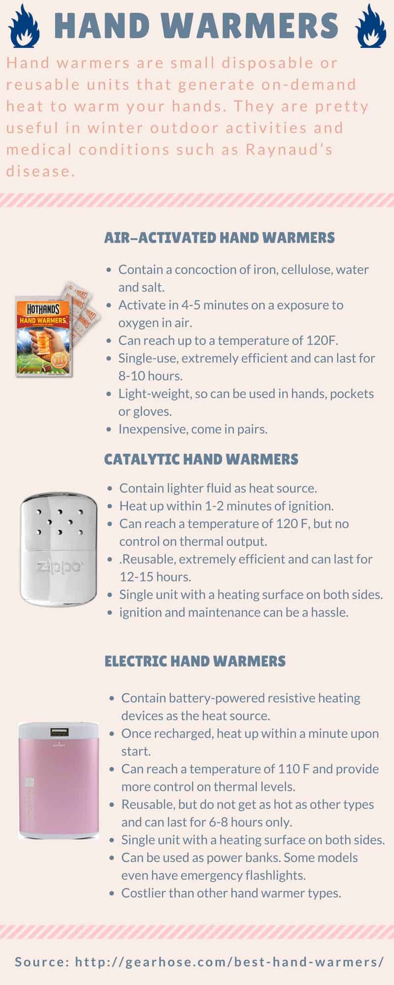 Different types of hand warmers